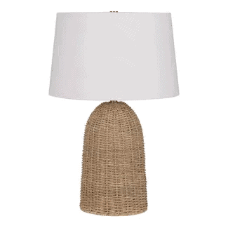A seagrass lamp base with a white shade.