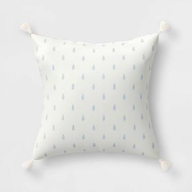 block print pillow with tassels