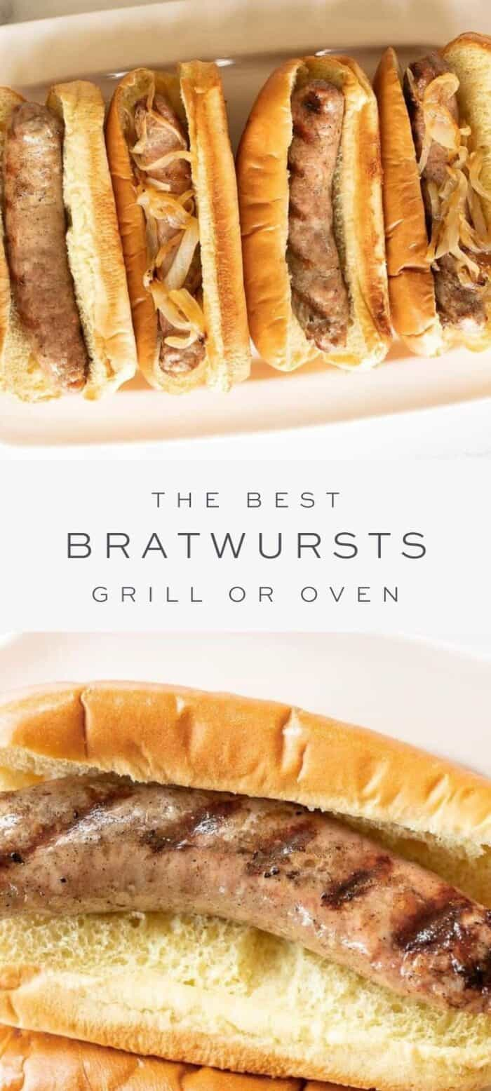 grilled bratwursts in buns on a platter, overlay text, close up of bratwurst