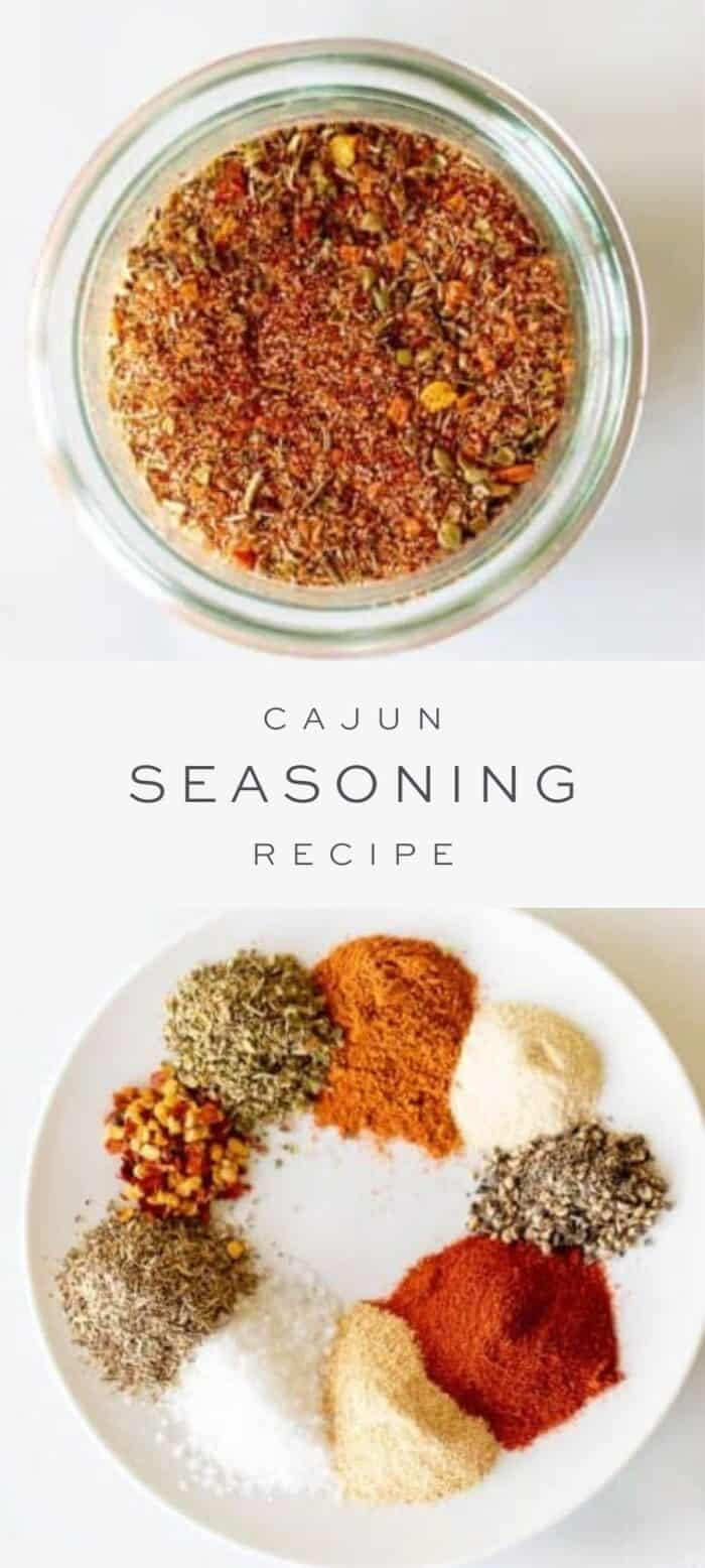 cajun seasoning in clear glass jar, text overlay, ingredients in cajun seasoning on plate