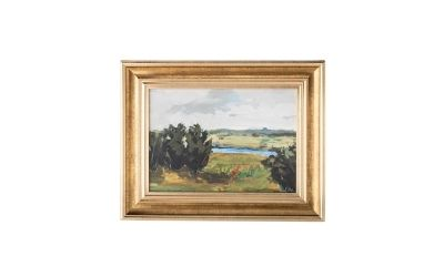 small landscape art in gold frame