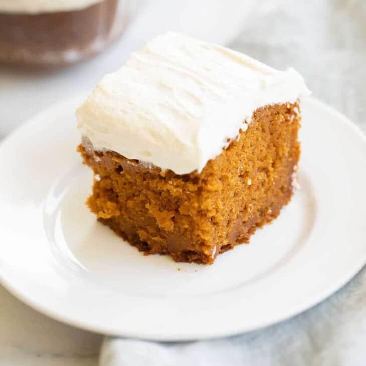 pumpkin cake on white plate