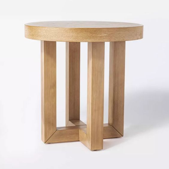 A soft modern wood end table from the studio Mcgee line at Target.