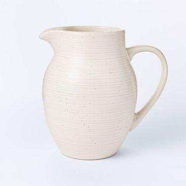 cream stoneware pitcher