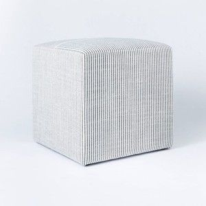 A striped fabric cube from the Studio McGee line at Target
