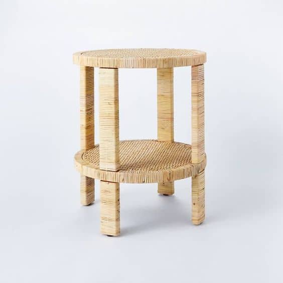 A rattan wrapped accent table from Studio McGee for Target