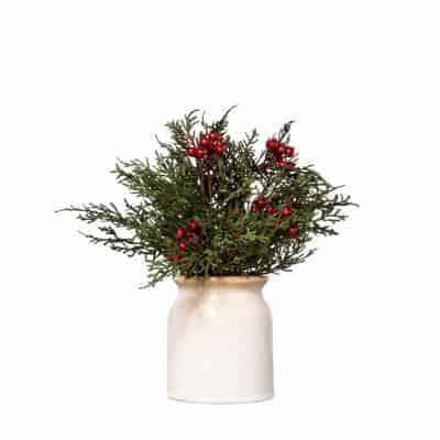 berry and cedar flower arrangement