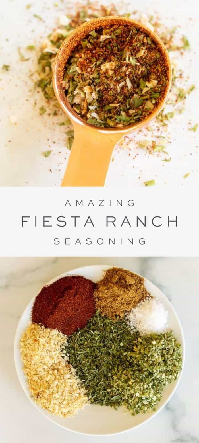 fiesta ranch seasoning in teaspoon on counter, overlay text, ingredients on fiesta ranch seasoning in bowl