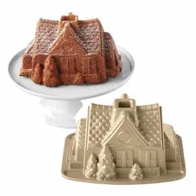 gingerbread house bundt pan next to gingerbread house bundt cake