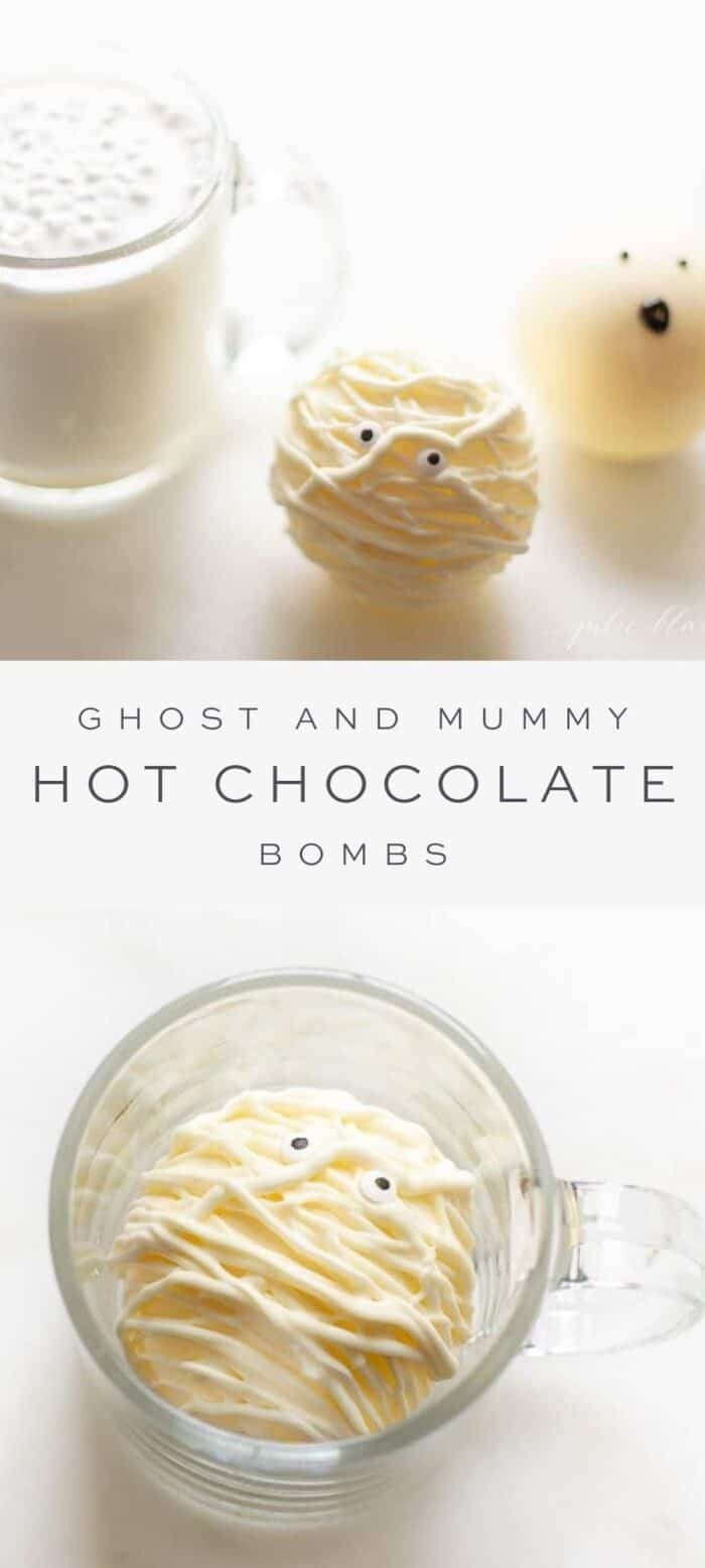 ghost and mummy hot chocolate bombs next to a mug of creamy hot chocolate