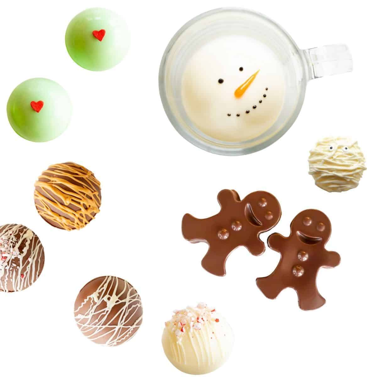 assortment of hot chocolate bombs displayed on white background