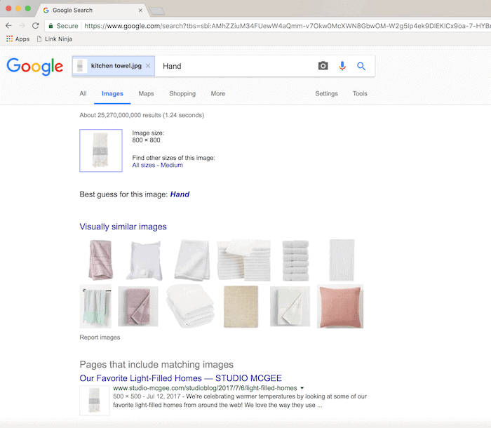 A screenshot of a google image search showing a search for specific towels using reverse image search.