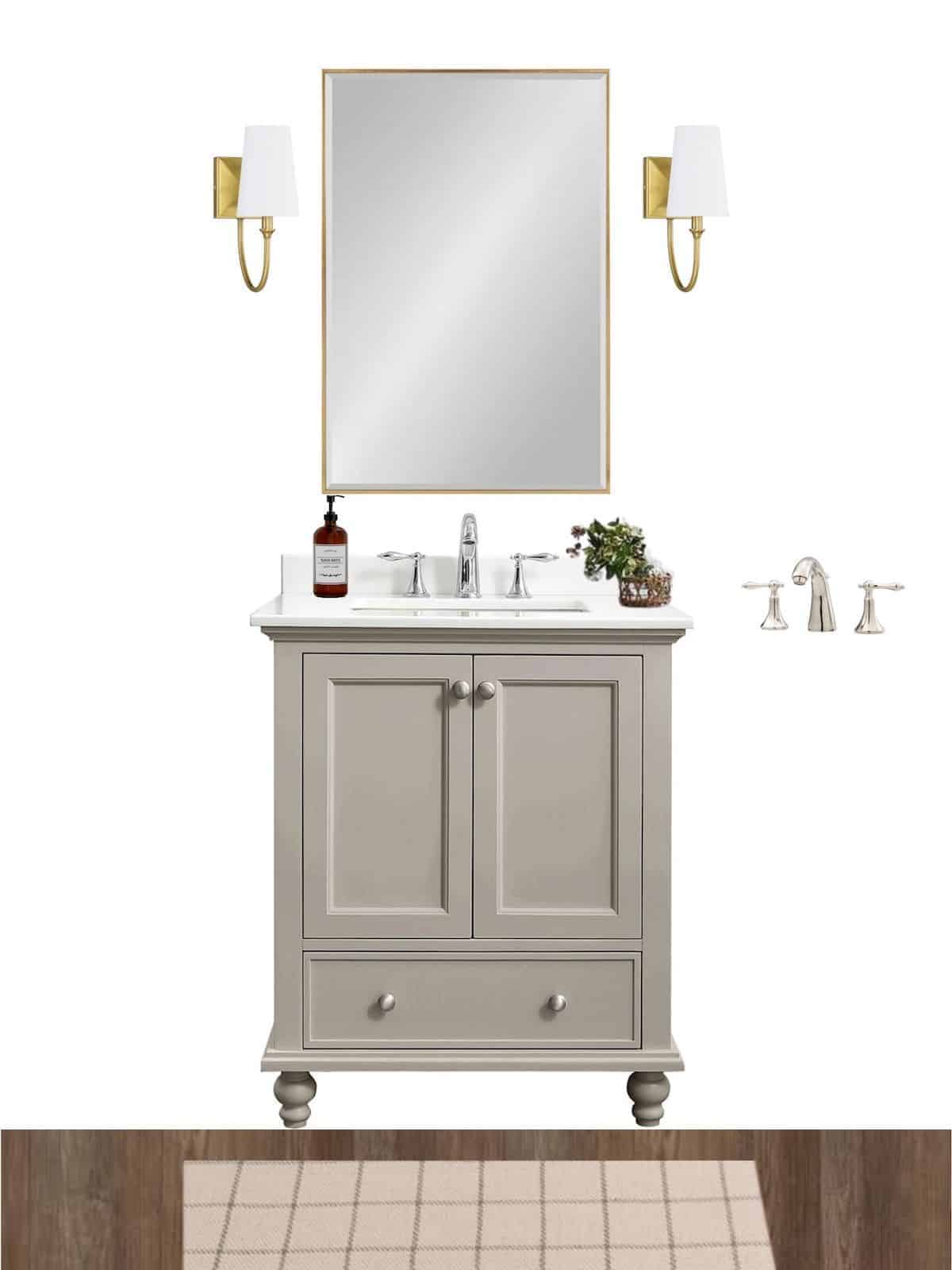 bathroom mood board with vanity mirror and sconces