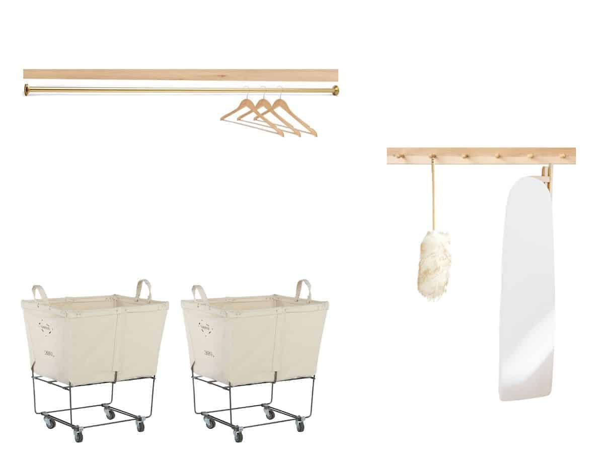mood board with laundry carts and ironing board
