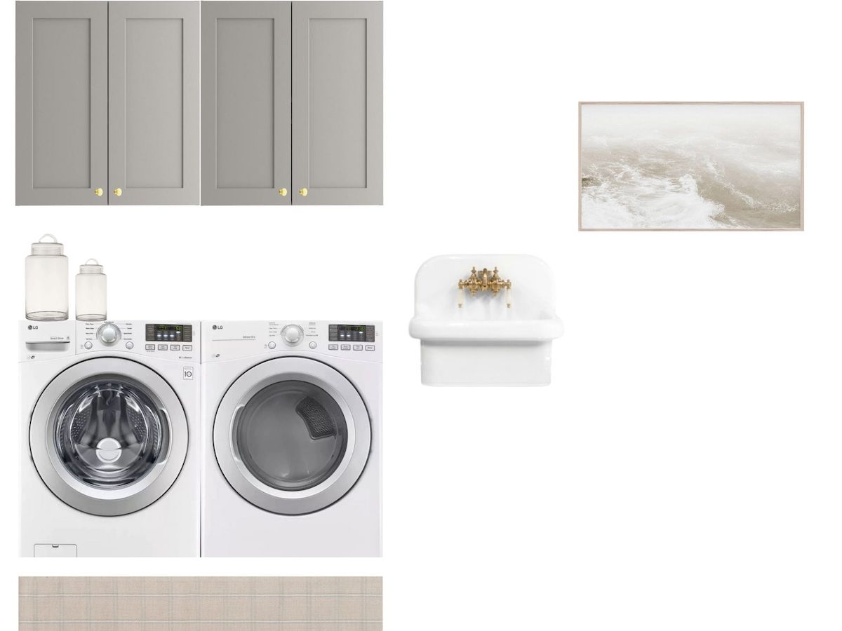 mood board of laundry room