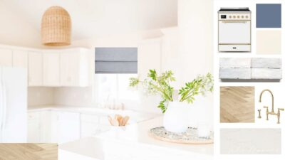 An Interior design mood board of a white kitchen.