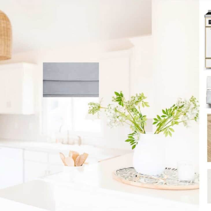 An Interior design mood board of a white kitchen.