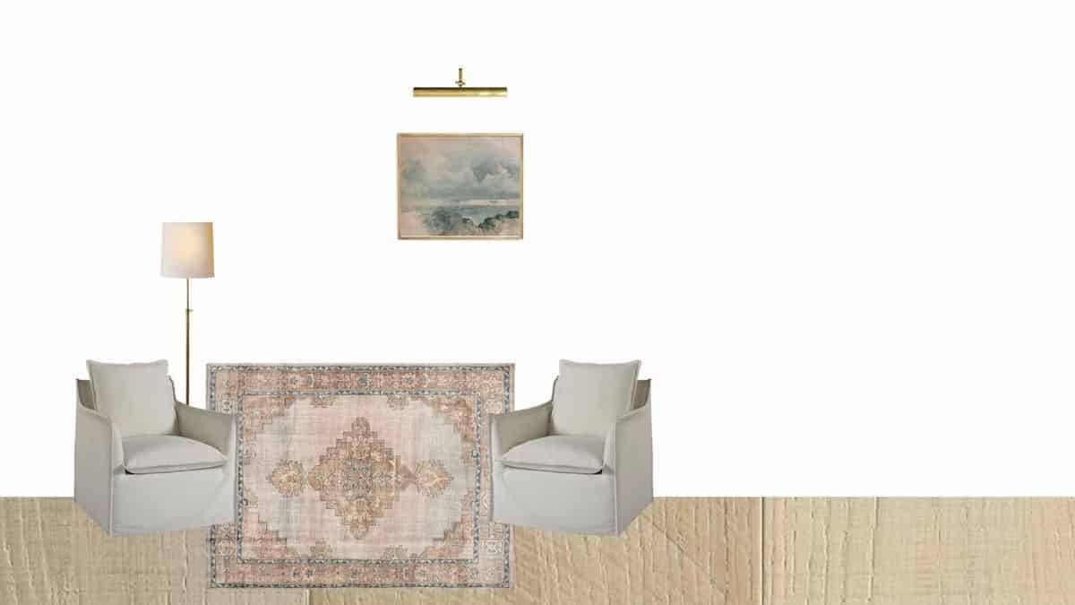 mood board with rugs chairs lamp and art