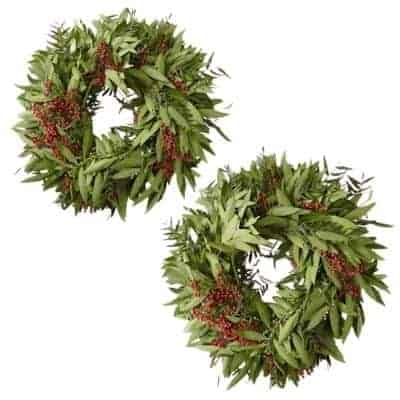 wreaths with pepperberries and bay leaves