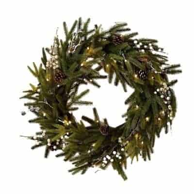 prelit wreath with pinecones