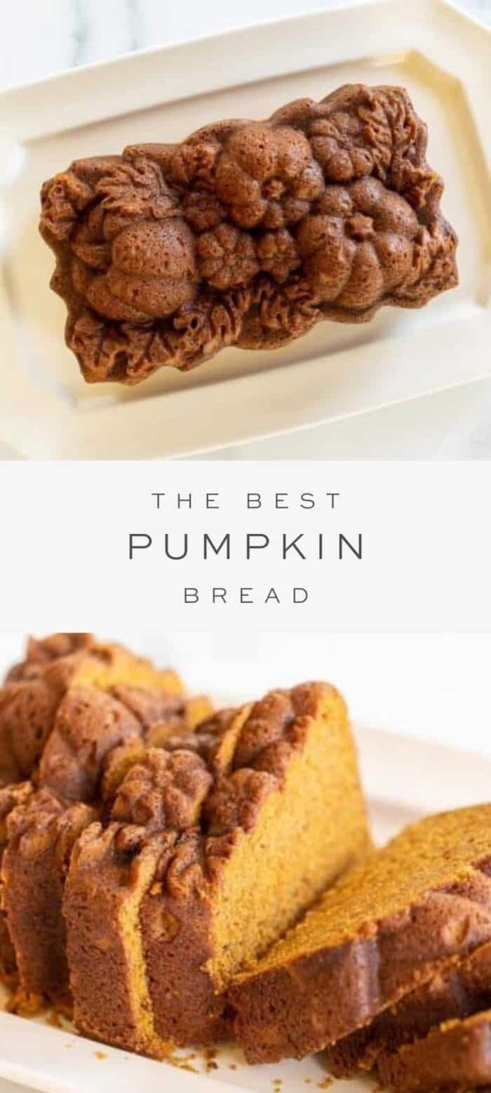 beautiful pumpkin bread on platter, overlay text, close up of sliced pumpkin bread