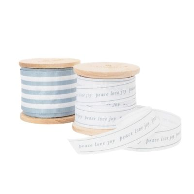 2 ribbons on wooden spools