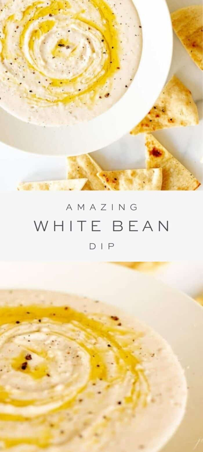 white bean dip surrounded by pita chips, overlay text, close up of white bean dip