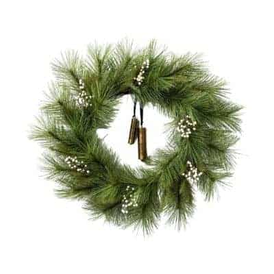 white berry wreath with bells