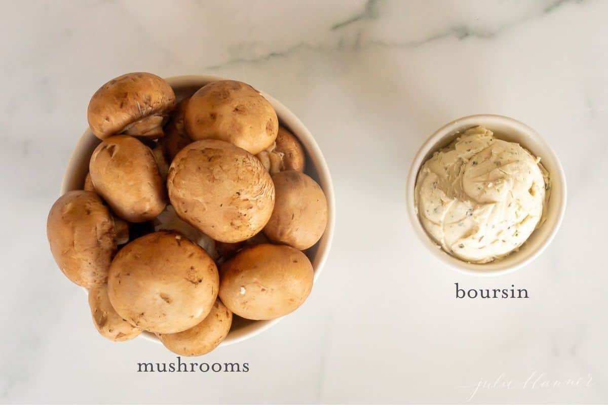boursin stuffed mushroom ingredients with text overlay