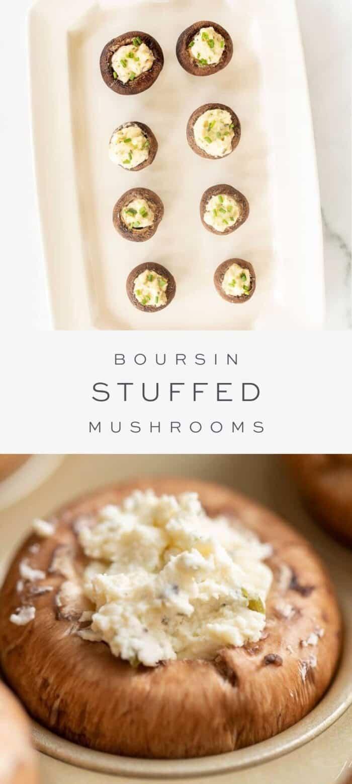 boursin stuffed mushrooms on platter, overlay text, close up of boursin stuffed mushroom