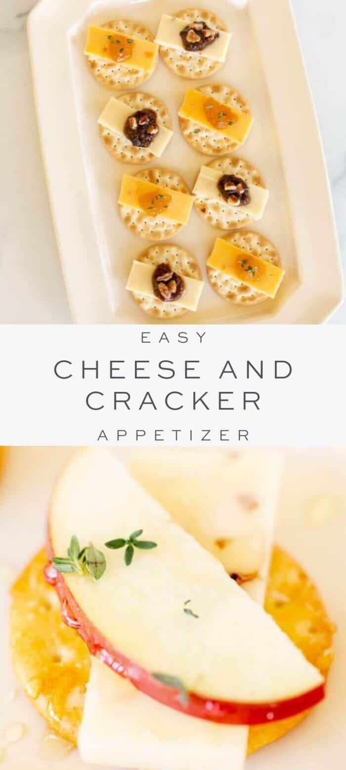 tray of crackers with cheese and jam, overlay text, close up of cracker with cheese slice and apple slice