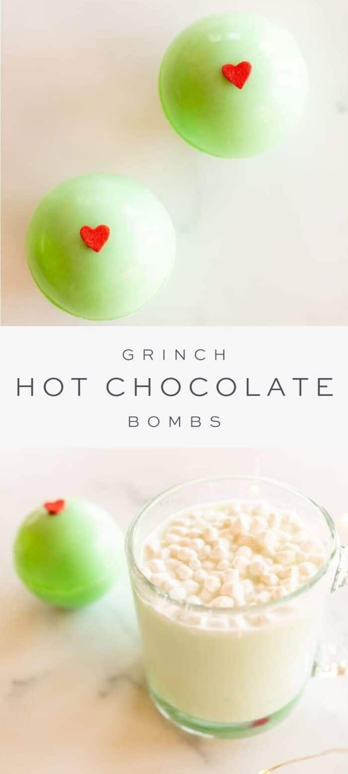 grinch hot chocolate bombs, overlay text, grinch hot chocolate bomb with mug of creamy hot chocolate