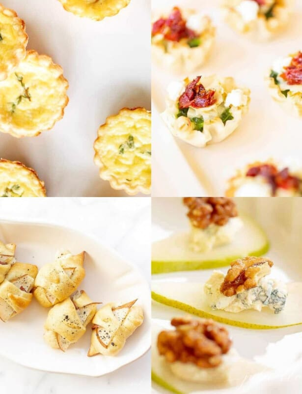 4 hors d'oeuvres in a split photo
