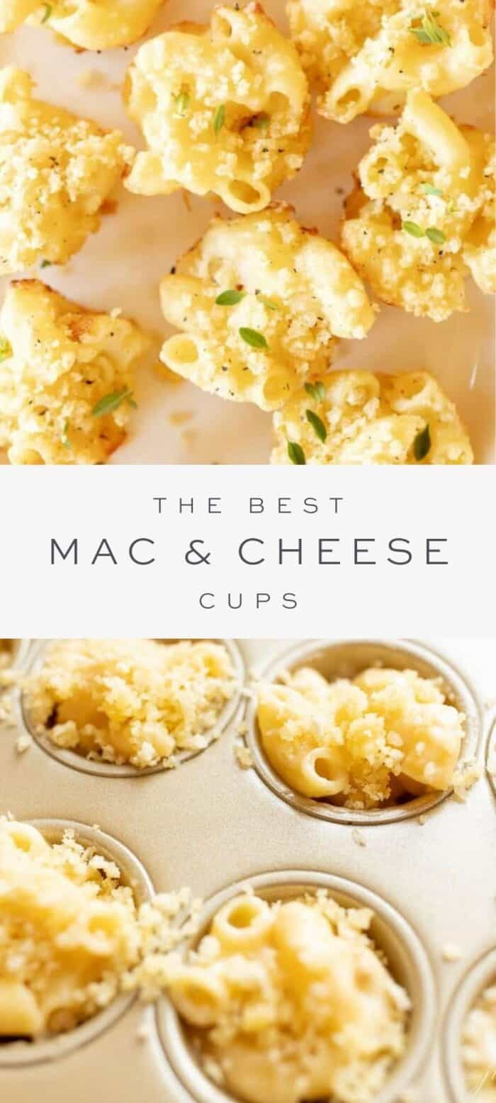 mac and cheese cups, overlay text, mac and cheese cups in muffin tin