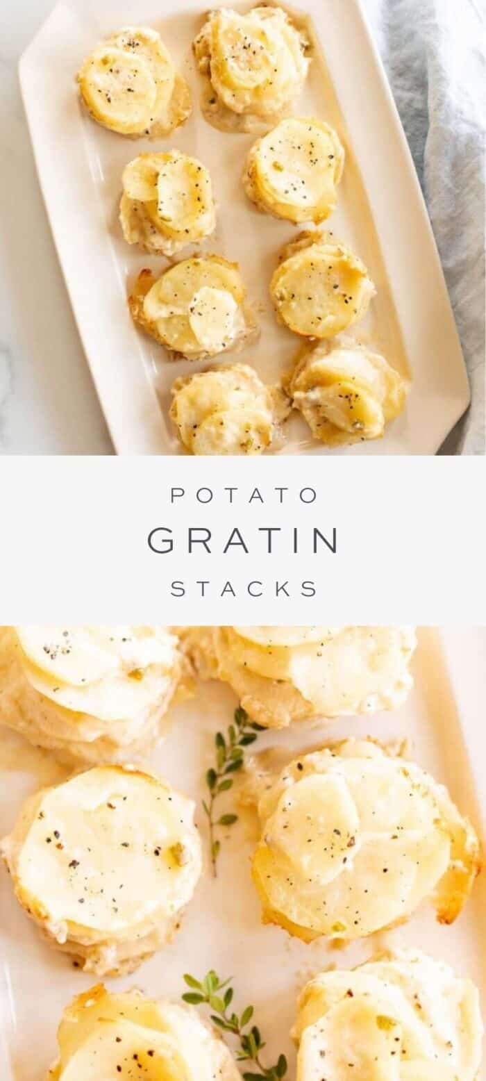 potato gratin stacks on platter, overlay text, close up of potato gratin stacks