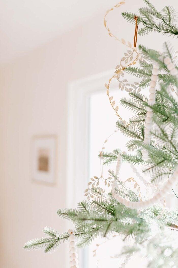 A Scandinavian Christmas tree decorated very simply.