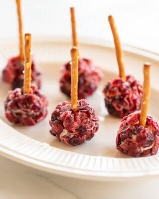 Individual cheese ball bites, covered in dried cranberries with pretzel sticks sticking out of each on a white plate.