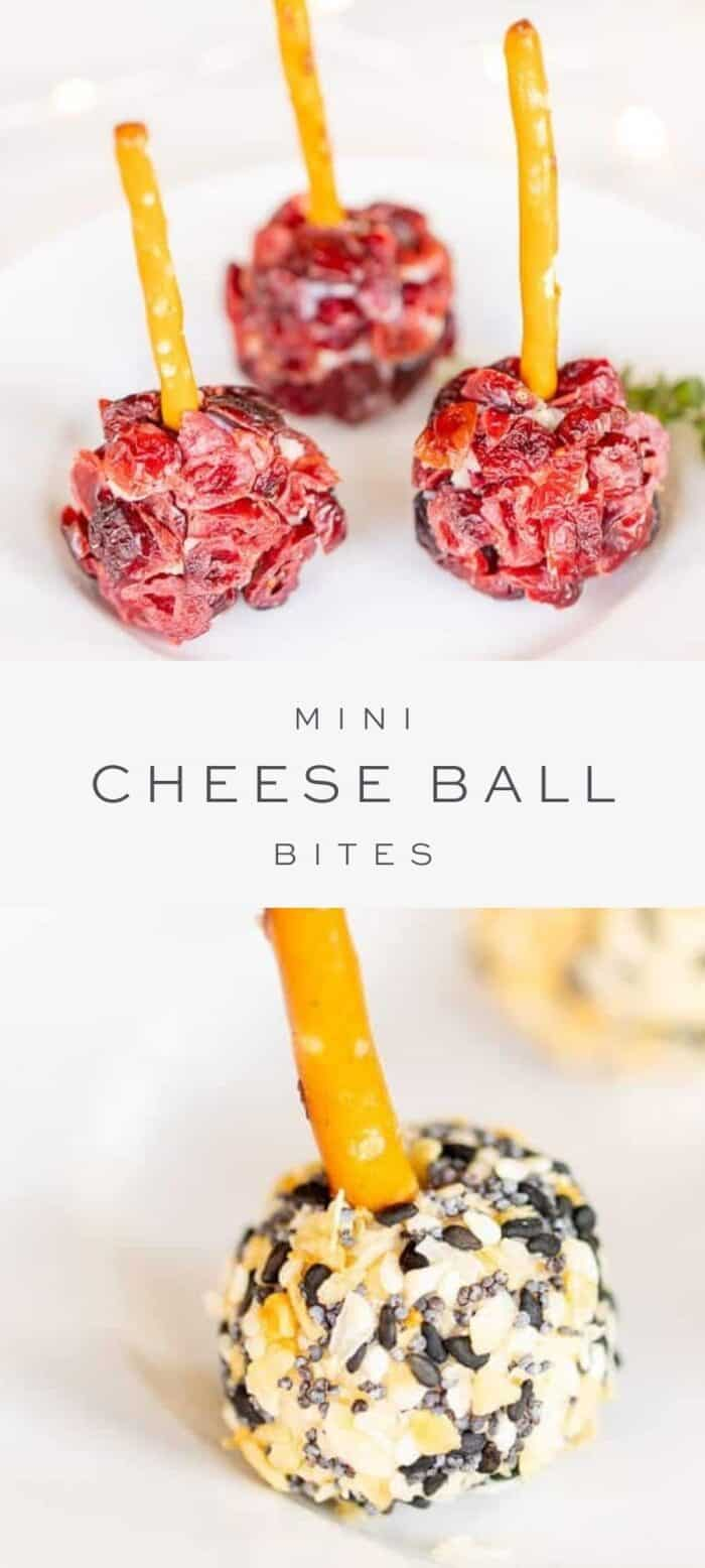 mini cheeseball bites with cranberry, overlay text, close up of cheese ball bites