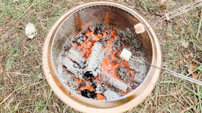 marshmallows roasting over solo stove fire pit