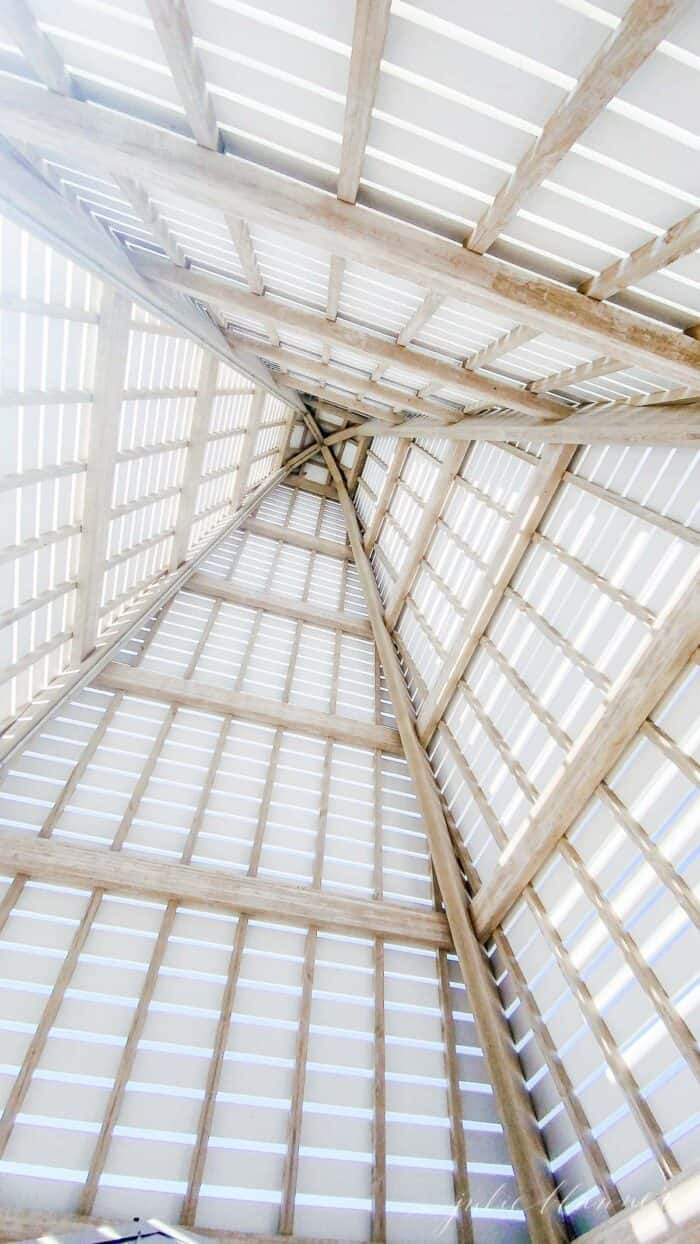 Looking up into the peaked roof of a beach pavilion in Seaside Florida