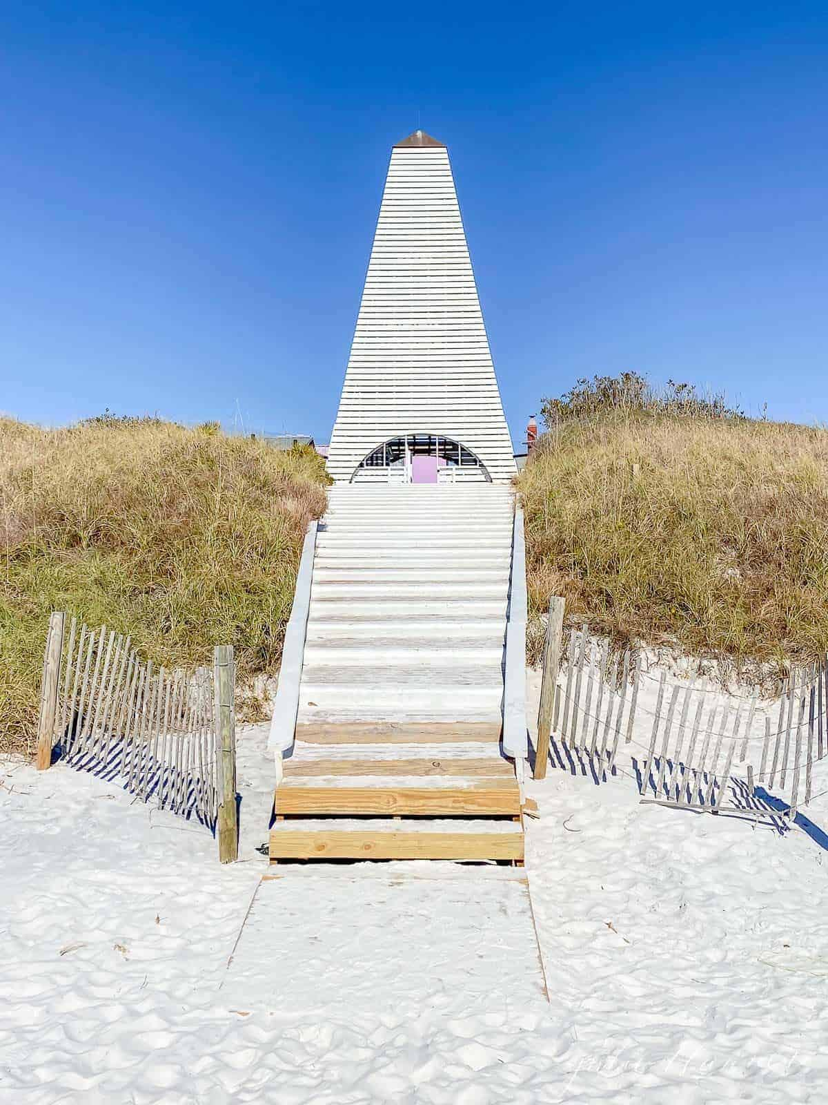 Steps to a beach pavilion in Seaside Florida.