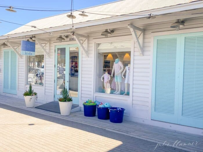 A white and pale blue childrens' shop in Seaside Florida