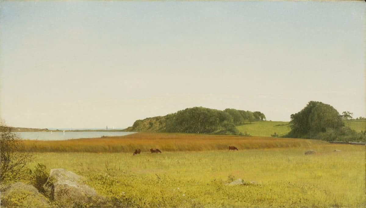 landscape art in public domain of cows by water
