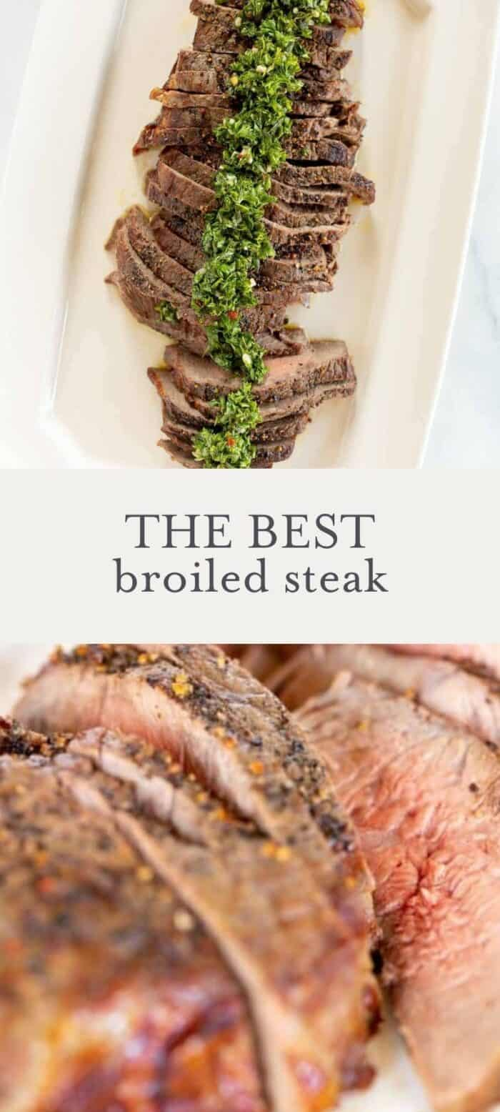 broiled steak topped with chimichurri, overlay text, close up of broiled steak