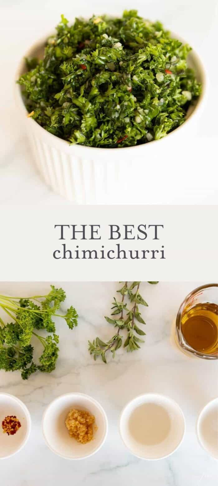 chimichurri in dish, overlay text, ingredients in chimichurri