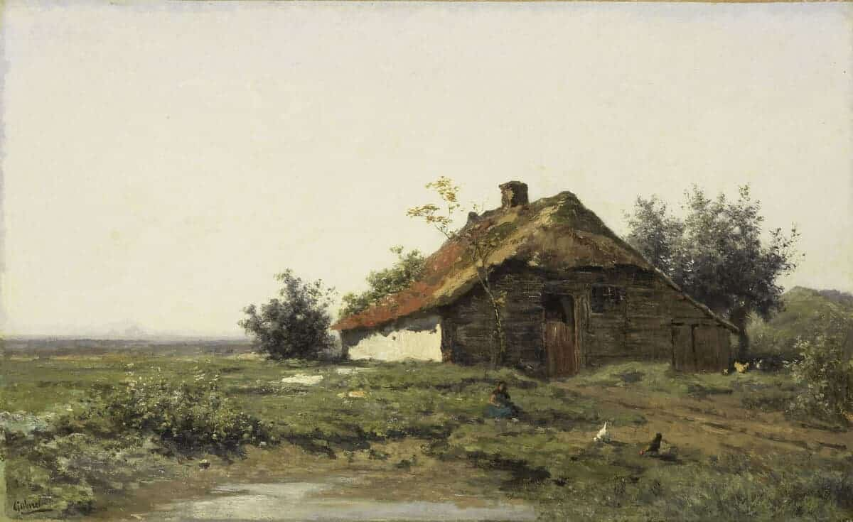landscape painting of a bardn