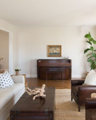 A cream colored family room with dark furniture and a vintage piano and large fiddle leaf fig against one wall.