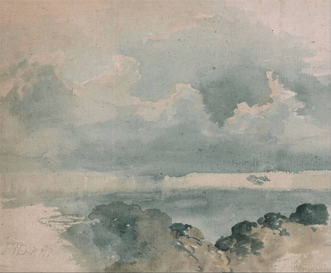A painting of blue clouds and ocean from the public domain art sources.