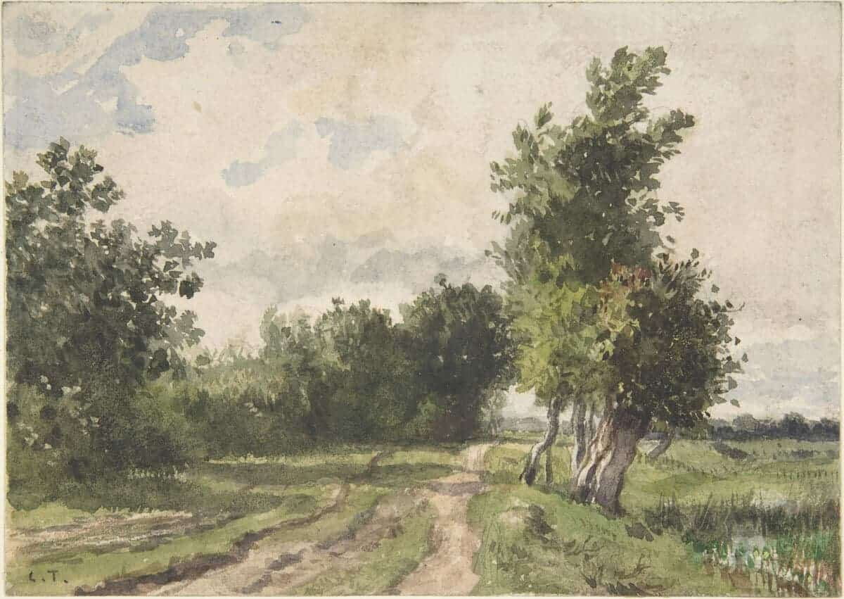 watercolor of path by trees and grasses