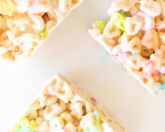 3 lucky charms treats on white surface